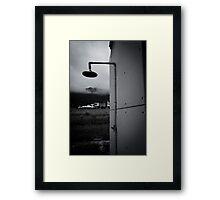 Black and White Mountain Shower Framed Print