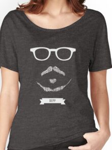 Beards with Glasses – Johnny Depp in White Women's Relaxed Fit T-Shirt