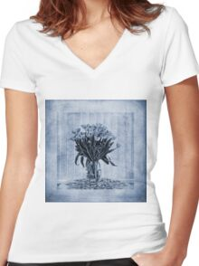 Watercolour Tulips in Blue Women's Fitted V-Neck T-Shirt