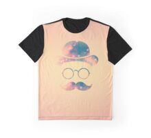 Retro Face with Moustache & Glasses / Universe - Galaxy Hipster (GOLD)) Graphic T-Shirt