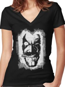 Lobo (w/ Grunge Background) Women's Fitted V-Neck T-Shirt