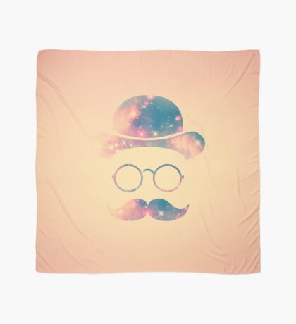Retro Face with Moustache & Glasses / Universe - Galaxy Hipster (GOLD)) Scarf