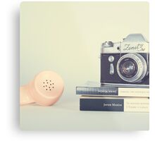 Vintage Camera and Retro Telephone  Metal Print