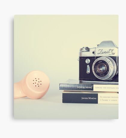 Vintage Camera and Retro Telephone  Canvas Print