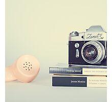 Vintage Camera and Retro Telephone  Photographic Print