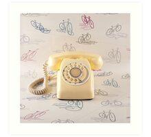 Retro Yellow Telephone  Art Print