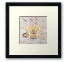 Retro Yellow Telephone  Framed Print