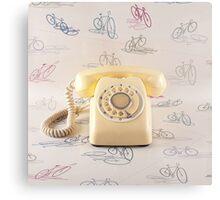 Retro Yellow Telephone  Metal Print