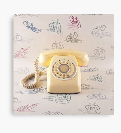 Retro Yellow Telephone  Canvas Print