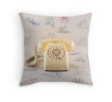 Retro Yellow Telephone  Throw Pillow