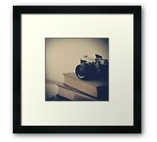 Vintage Camera and Books  Framed Print
