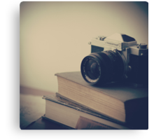 Vintage Camera and Books  Canvas Print