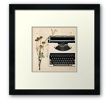 Retro Typewriter and Dried Flowers  Framed Print