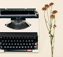 Retro Typewriter and Dried Flowers  by Andreka