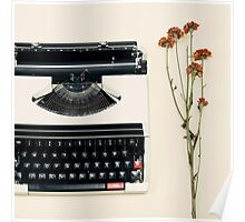 Retro Typewriter and Dried Flowers  Poster