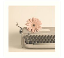 Soft Typewriter and Pink Flower  Art Print