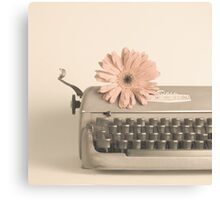 Soft Typewriter and Pink Flower  Canvas Print
