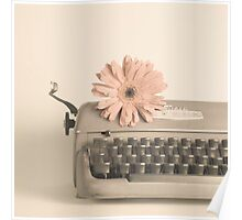 Soft Typewriter and Pink Flower  Poster
