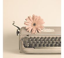 Soft Typewriter and Pink Flower  Photographic Print