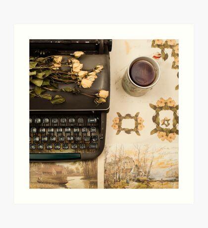 Typewriter, Tea and Dried Flowers  Art Print