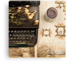Typewriter, Tea and Dried Flowers  Metal Print
