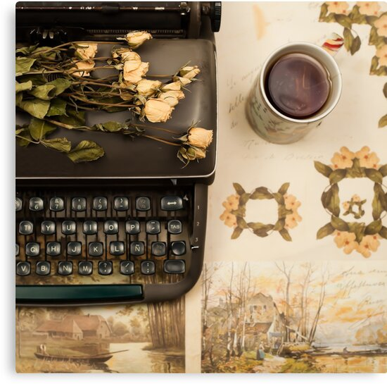 Typewriter, Tea and Dried Flowers  by Caroline Mint
