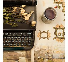 Typewriter, Tea and Dried Flowers  Photographic Print
