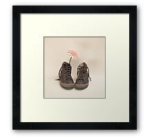 Converse and Pink Flower  Framed Print