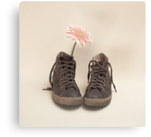 Converse and Pink Flower  Canvas Print