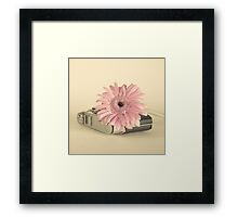 Pink Flower and Camera  Framed Print