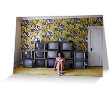 Self Portrait- Abandoned Hotel, TV room Greeting Card