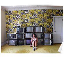 Self Portrait- Abandoned Hotel, TV room Poster