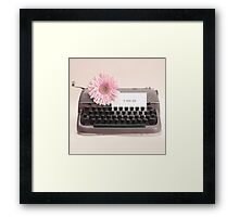 Pink Flower and Typewriter  Framed Print