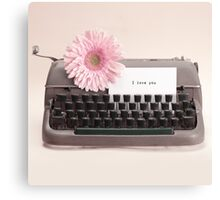 Pink Flower and Typewriter  Canvas Print