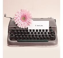 Pink Flower and Typewriter  Photographic Print
