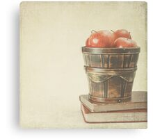 Old Books and Apples  Canvas Print