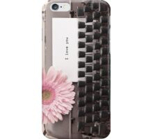 Pink Flower and Typewriter  iPhone Case/Skin