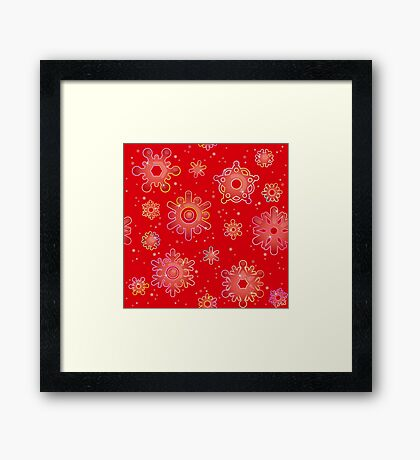 Seamless pattern for Christmas on red background Framed Print