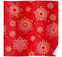 Seamless pattern for Christmas on red background Poster