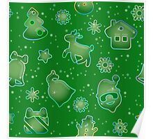 Seamless pattern for Christmas on green background Poster