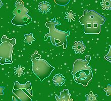 Seamless pattern for Christmas on green background by Ksena-shu