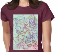 aqua bleed with pink and blue scribbles Womens Fitted T-Shirt