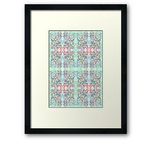 aqua bleed with pink and blue scribbles Framed Print