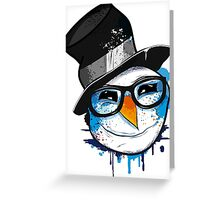 Snowman with nerd glasses Greeting Card