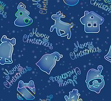 Seamless pattern for Christmas on blue background by Ksena-shu