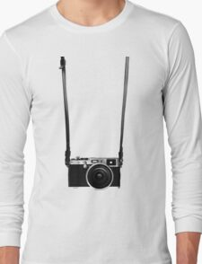 Vintage retro 35mm metal rangerfinder camera on isolated white background. Long Sleeve T-Shirt