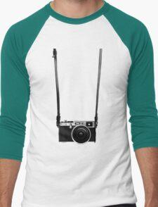 Vintage retro 35mm metal rangerfinder camera on isolated white background. Men's Baseball ¾ T-Shirt