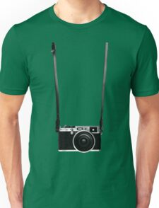 Vintage retro 35mm metal rangerfinder camera on isolated white background. Unisex T-Shirt
