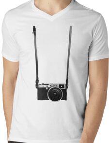 Vintage retro 35mm metal rangerfinder camera on isolated white background. Mens V-Neck T-Shirt