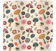 Woodland Floral Seamless Pattern Poster